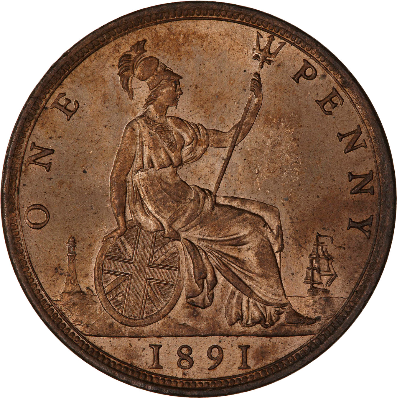 Penny 1891: Photo Coin - Penny, Queen Victoria, Great Britain, 1891