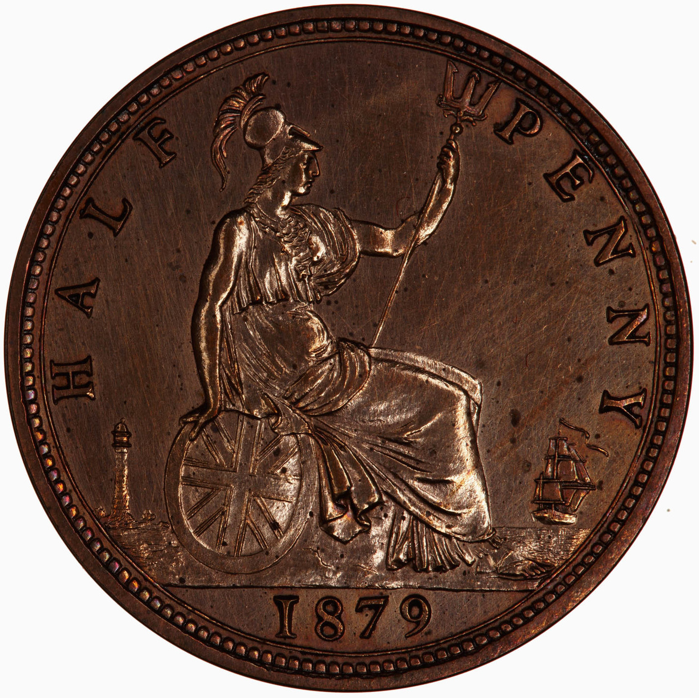 Halfpenny 1879: Photo Proof Coin - Halfpenny, Queen Victoria, Great Britain, 1879