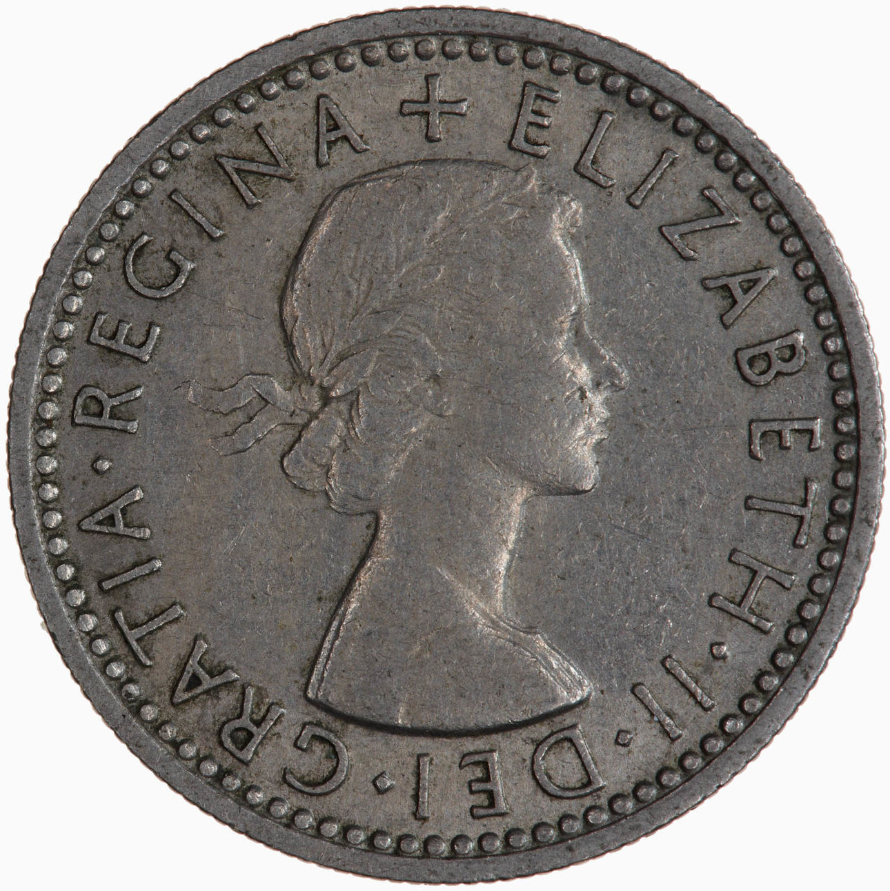 Sixpence 1956: Photo Coin - Sixpence, Elizabeth II, Great Britain, 1956
