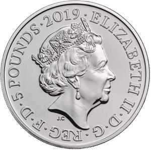 United Kingdom / Five Pounds 2019 Legend of the Ravens - obverse photo