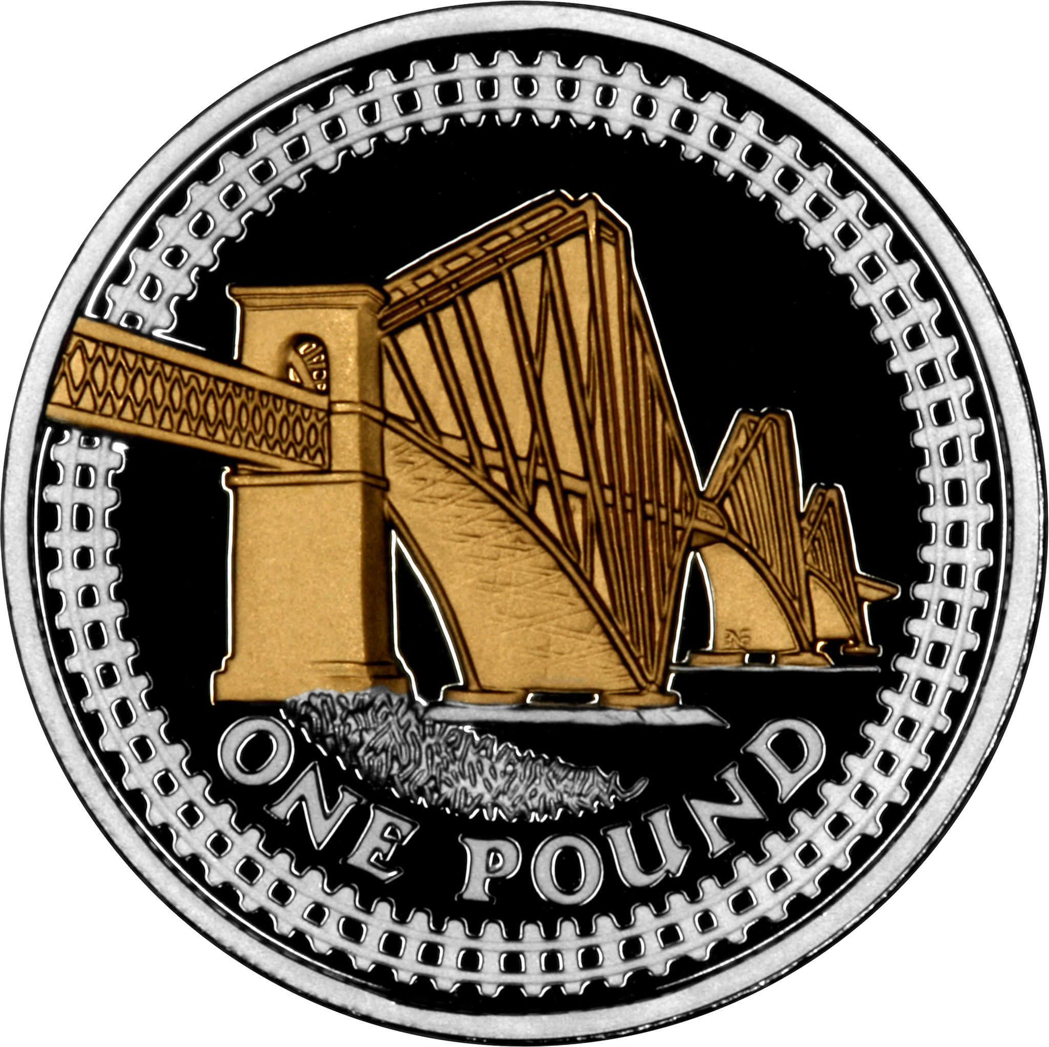 One Pound 2008 Forth Railway Bridge (NCLT): Photo 2008 UK £1 - Silver Proof 25th Anniversary 14 Coin Set