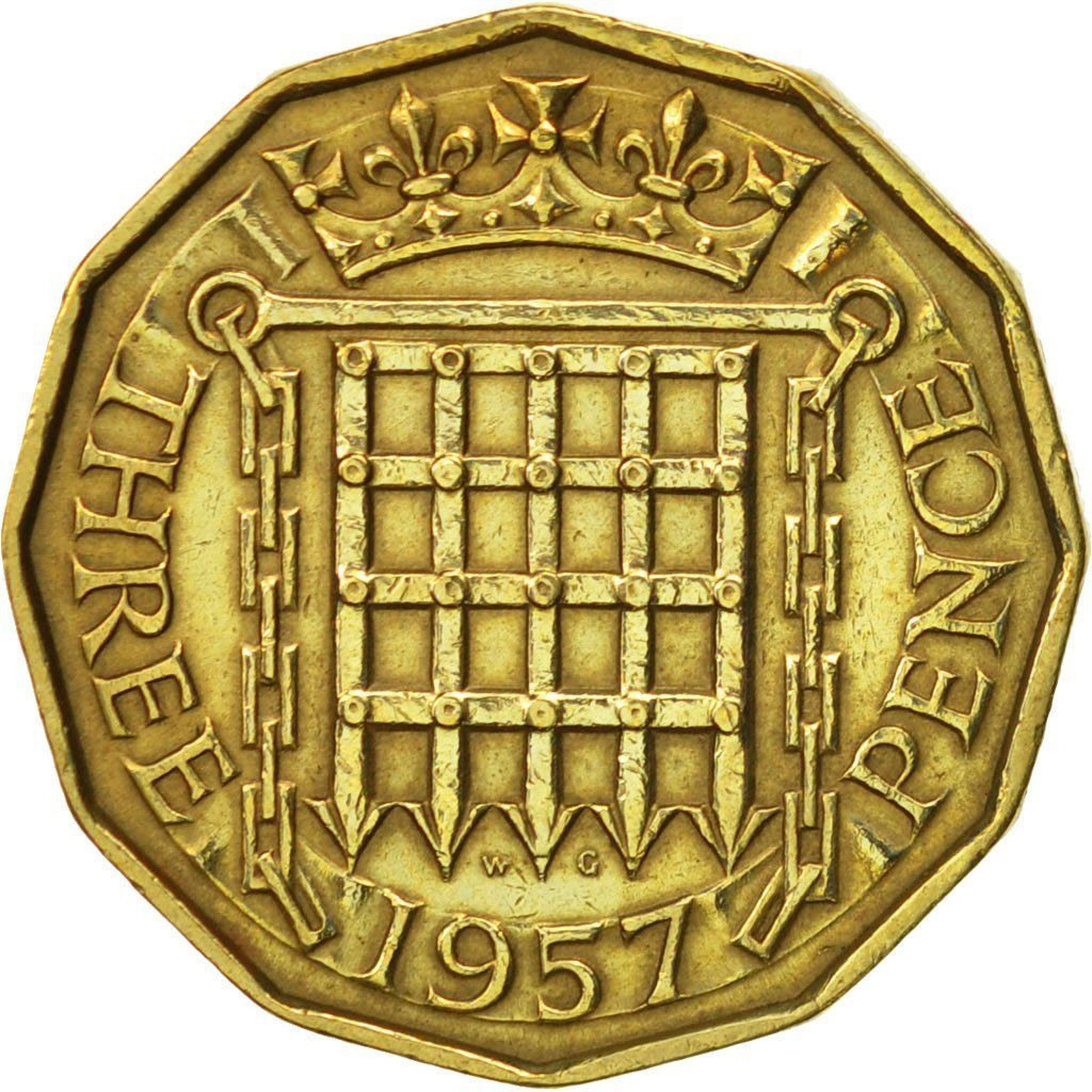 Threepence 1957 (Brass): Photo Great Britain, Elizabeth II, 3 Pence, 1957