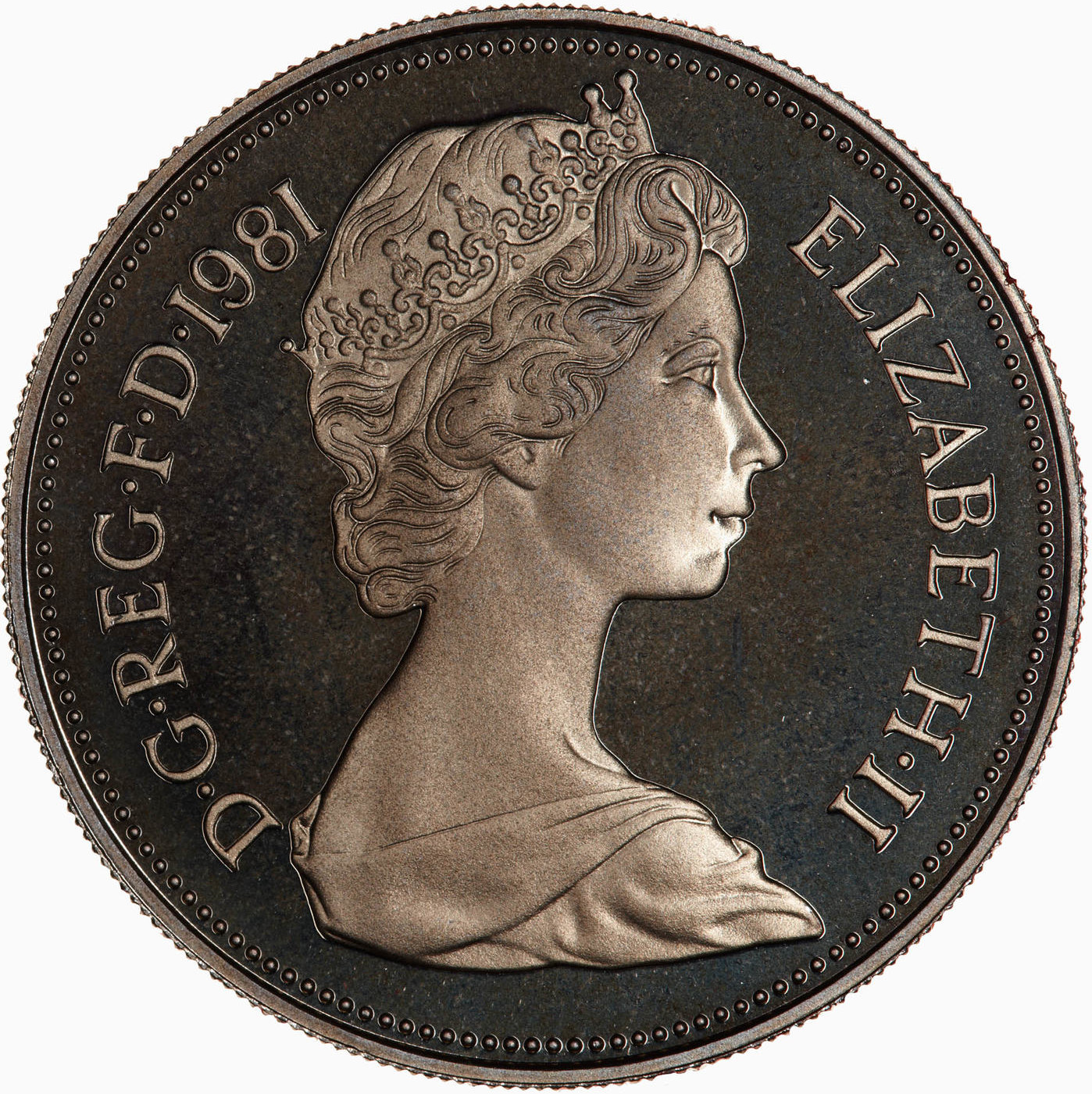 Ten Pence 1981: Photo Proof Coin - 10 New Pence, Elizabeth II, Great Britain, 1981