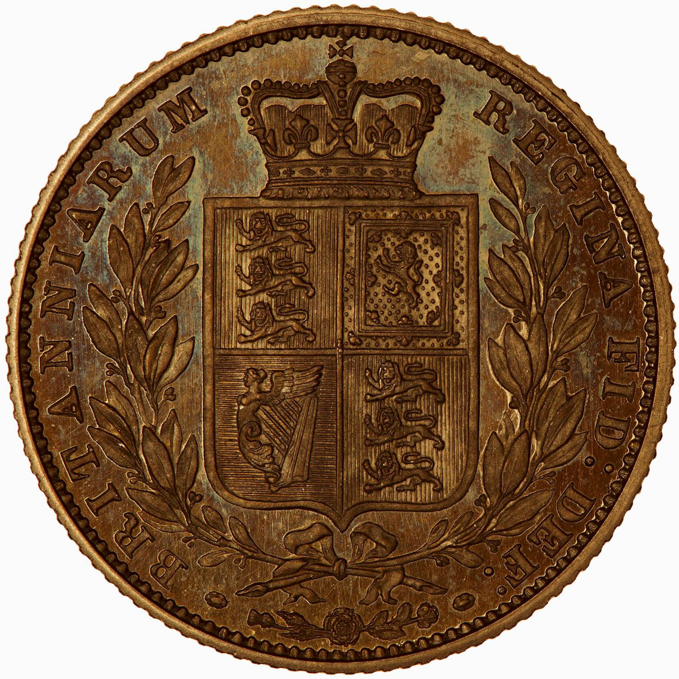 Sovereign 1871 Shield: Photo Proof Coin - Sovereign, Queen Victoria, Great Britain, 1871