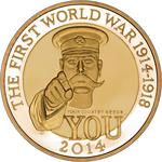 United Kingdom / Two Pounds 2014 WW1 - Outbreak / Gold Proof FDC - reverse photo