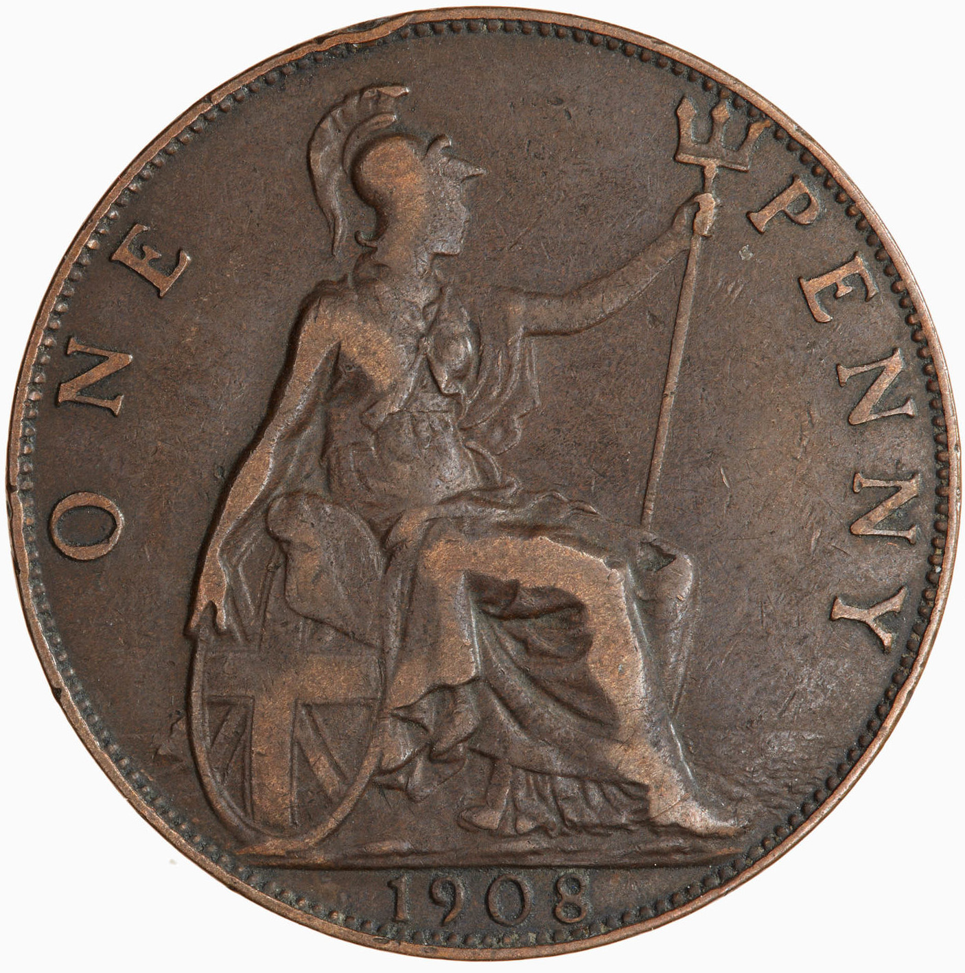 Penny 1908: Photo Coin - Penny, Edward VII, Great Britain, 1908