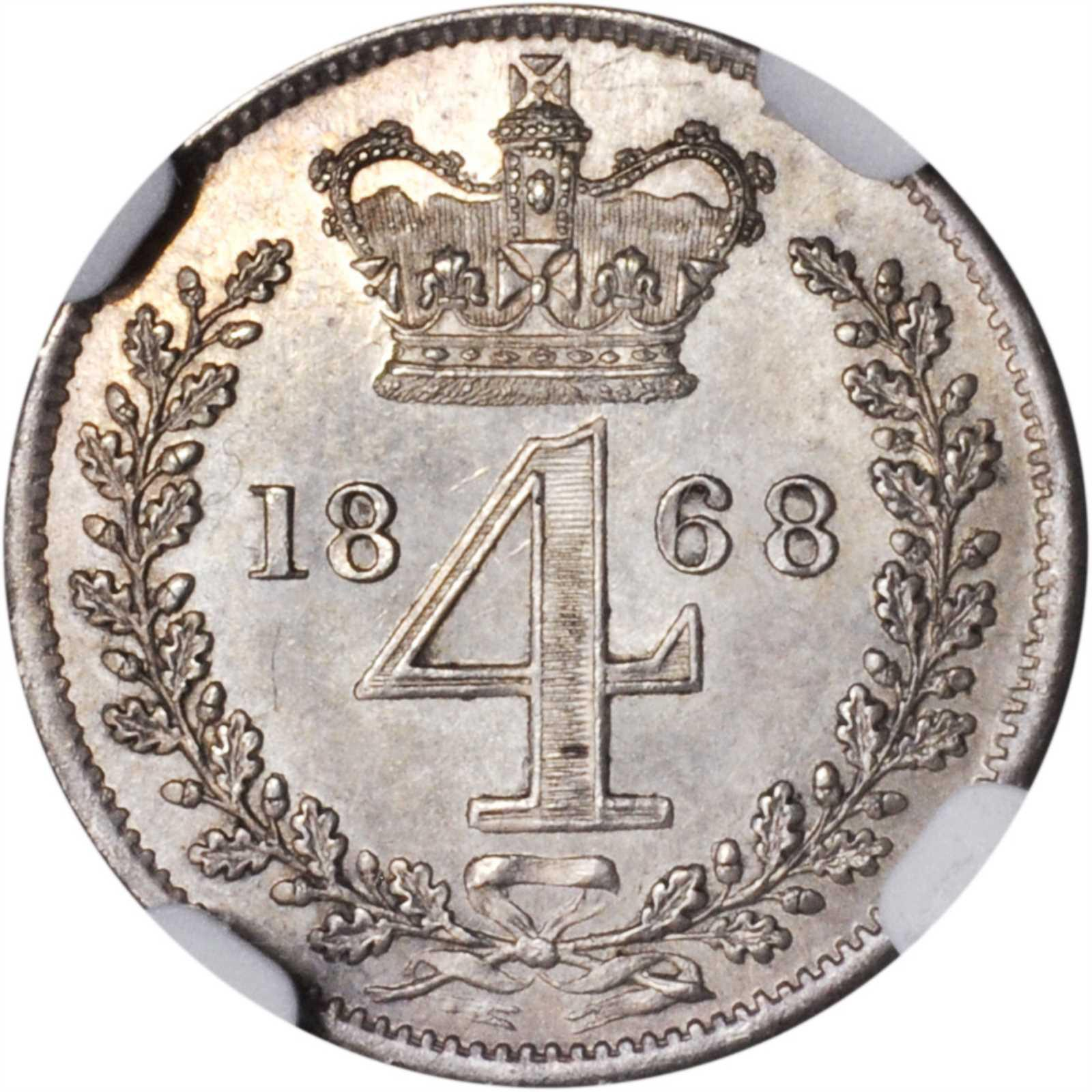 Fourpence 1868 (Maundy): Photo Great Britain 1868 4 pence - CoinFactsWiki