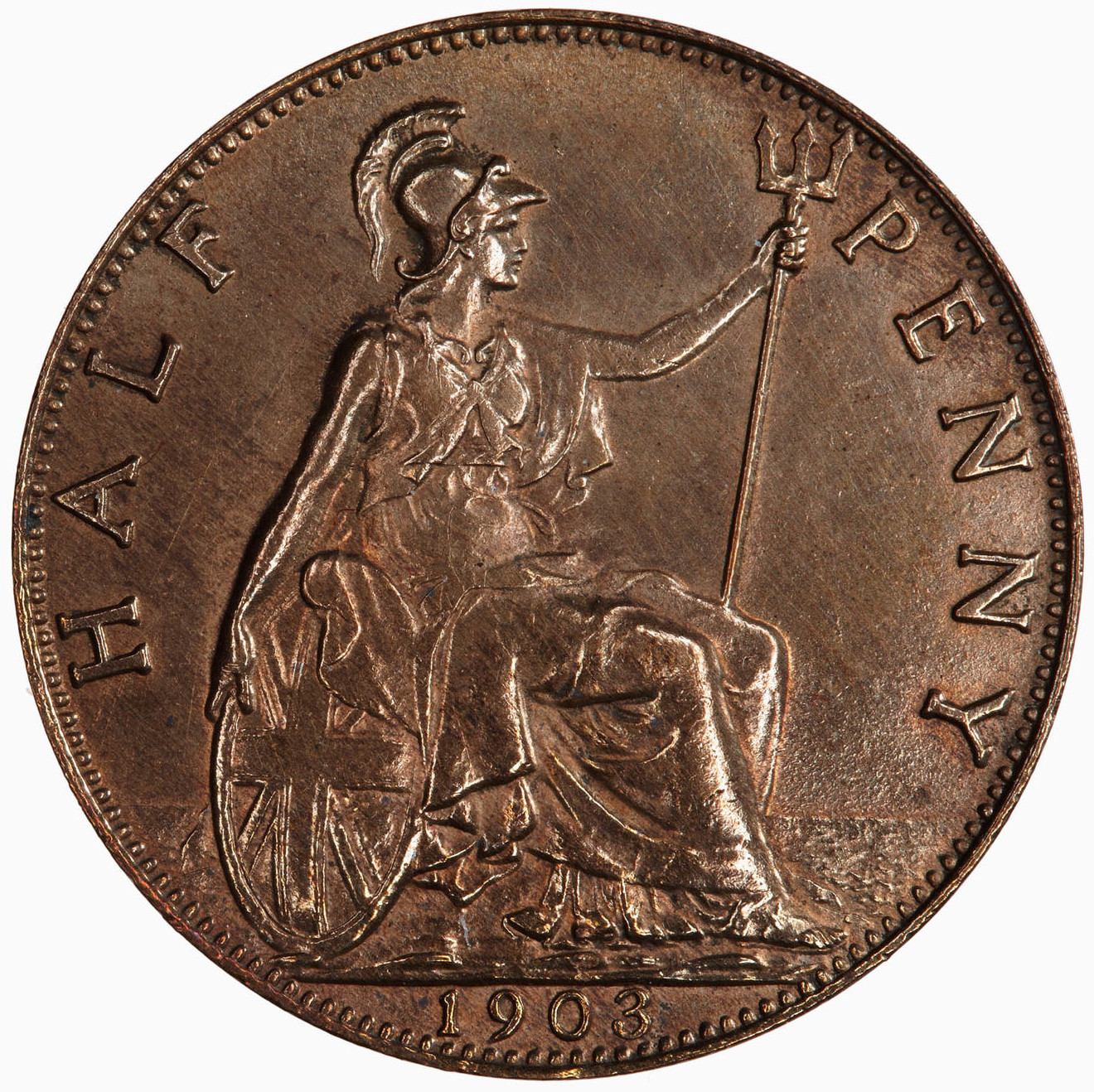 Halfpenny 1903: Photo Coin - Halfpenny, Edward VII, Great Britain, 1903