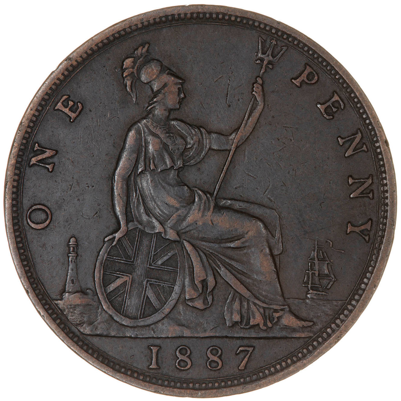 Penny 1887: Photo Coin - Penny, Queen Victoria, Great Britain, 1887