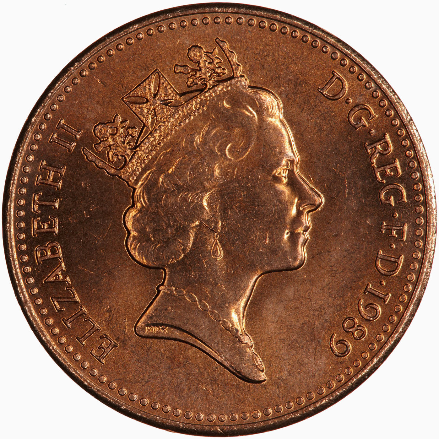 One Penny 1989: Photo Coin - 1 Penny, Elizabeth II, Great Britain, 1989