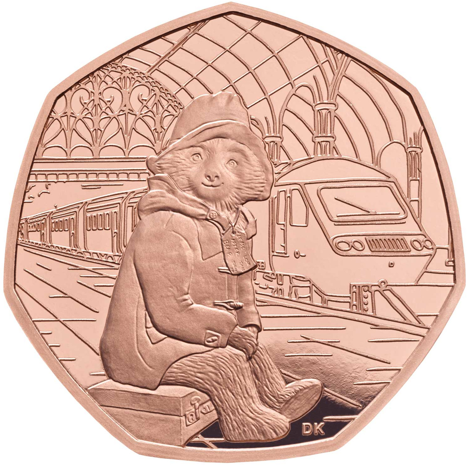 Fifty Pence 2018 Paddington Bear at the Station: Photo Paddington at the Station 2018 UK 50p Gold Proof Coin