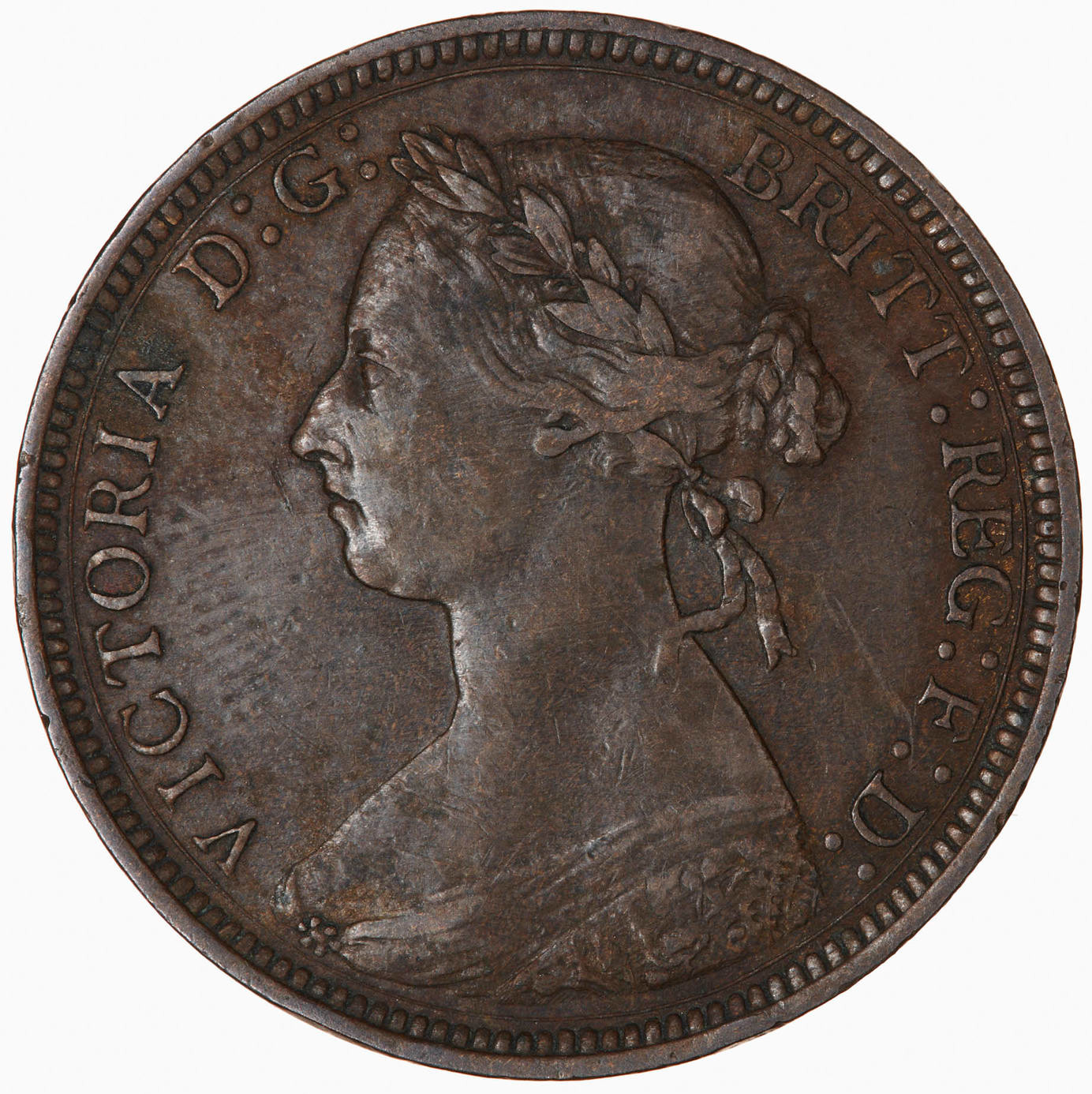 Halfpenny 1887: Photo Coin - Halfpenny, Queen Victoria, Great Britain, 1887