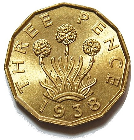 Threepence 1938 (Brass): Photo George VI, Brass Threepence. 1938