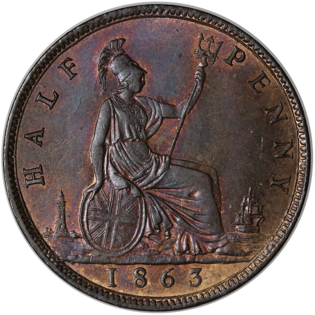 Halfpenny 1863: Photo Half Penny, Victoria, 1863