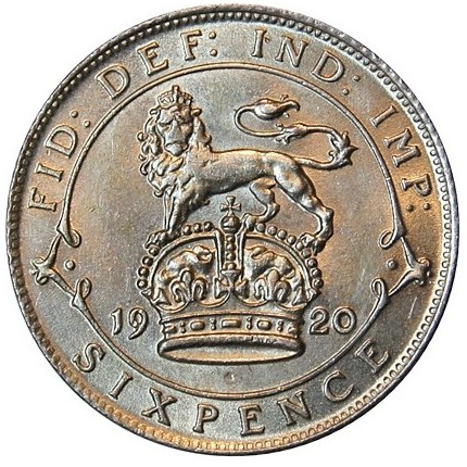 Sixpence 1920 (Sterling Silver): Photo George V, Silver Sixpence, 1920