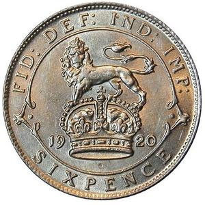 United Kingdom / Sixpence 1920 (Sterling Silver) - reverse photo