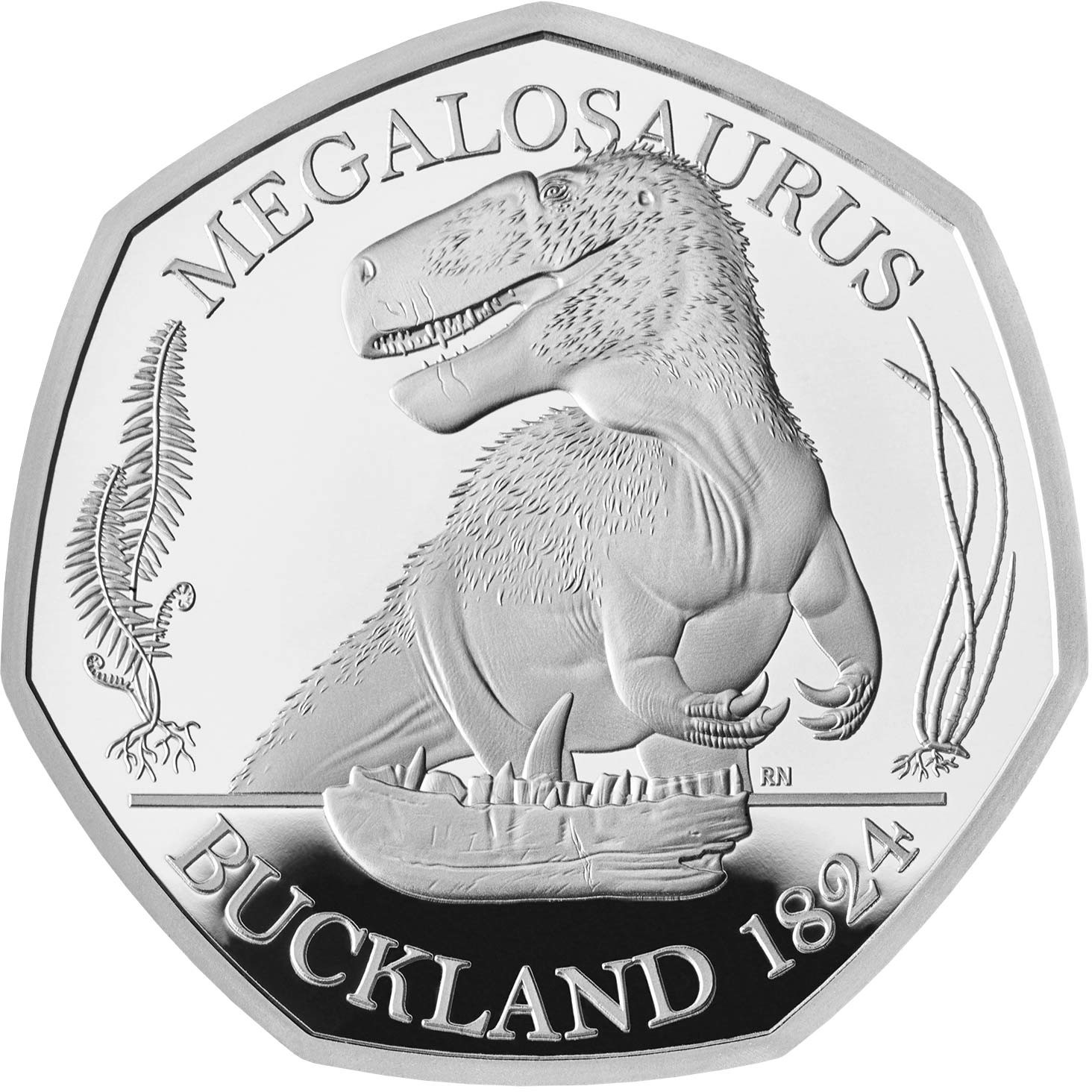 Fifty Pence 2020 Megalosaurus: Photo Silver Proof Megalosaurus 2020 UK 50p coin