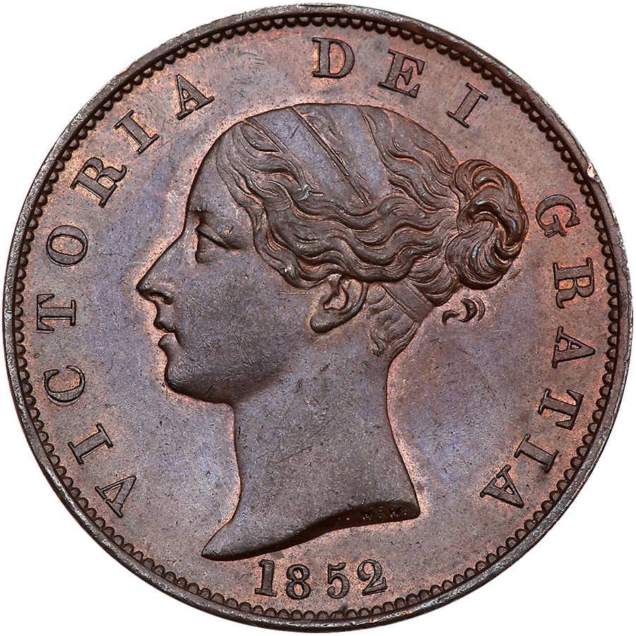 Halfpenny (Britannia, second design): Photo Great Britain 1852 half penny