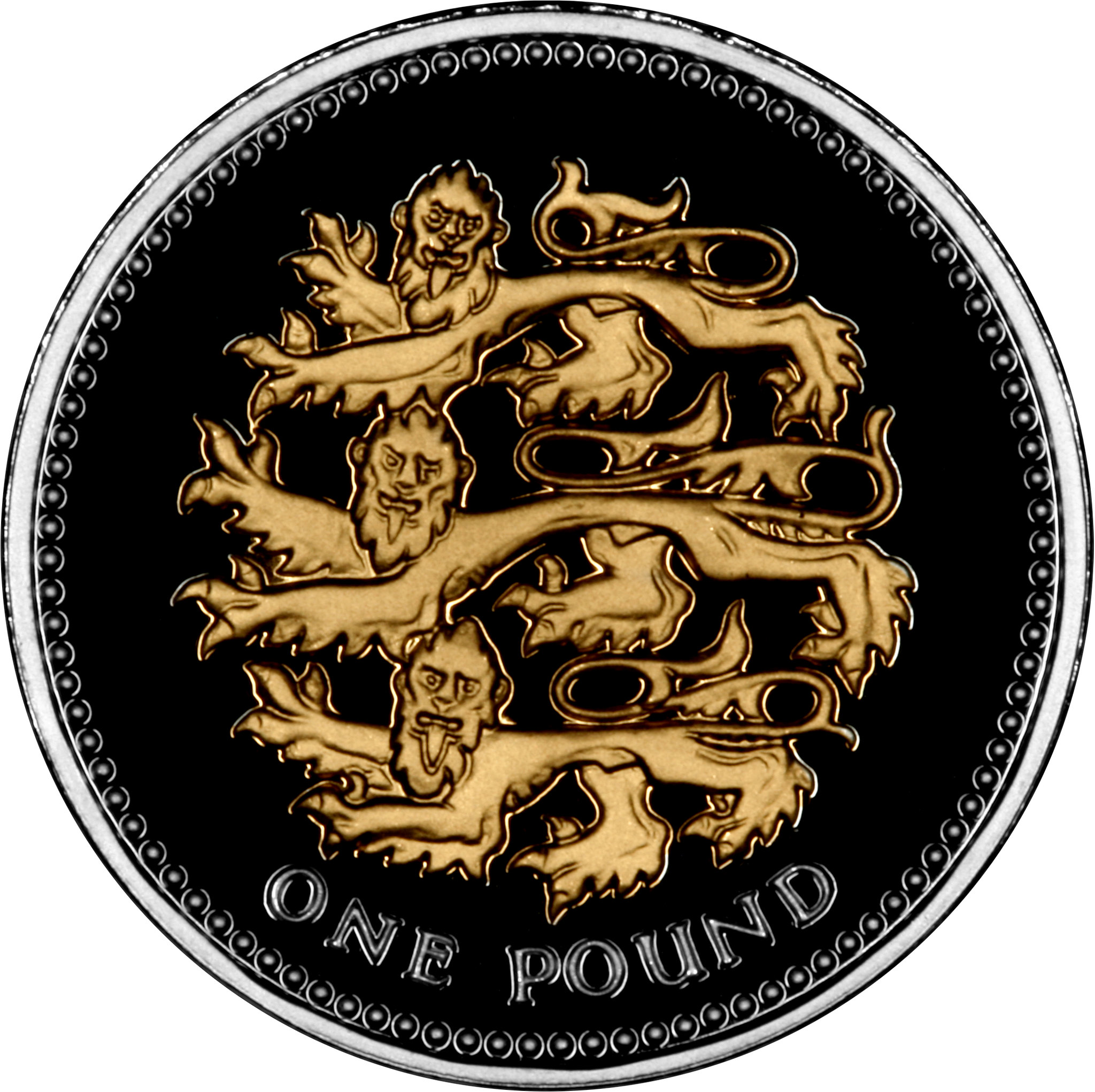 One Pound 2008 Three Lions (NCLT): Photo 2008 UK £1 - Silver Proof 25th Anniversary 14 Coin Set
