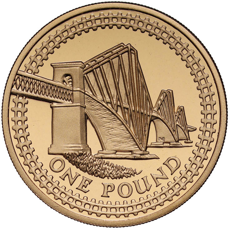 One Pound 2004 Forth Railway Bridge: Photo 2004 Forth Rail Bridge £1 Gold Proof Coin