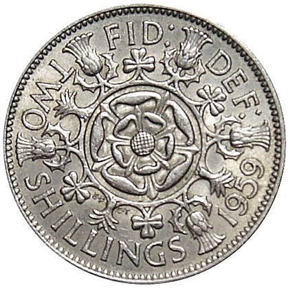 Two Shillings (Florin) 1959: Photo Elizabeth II, Florin, 1959