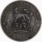 Sixpence 1916: Photo Coin - Sixpence, George V, Great Britain, 1916