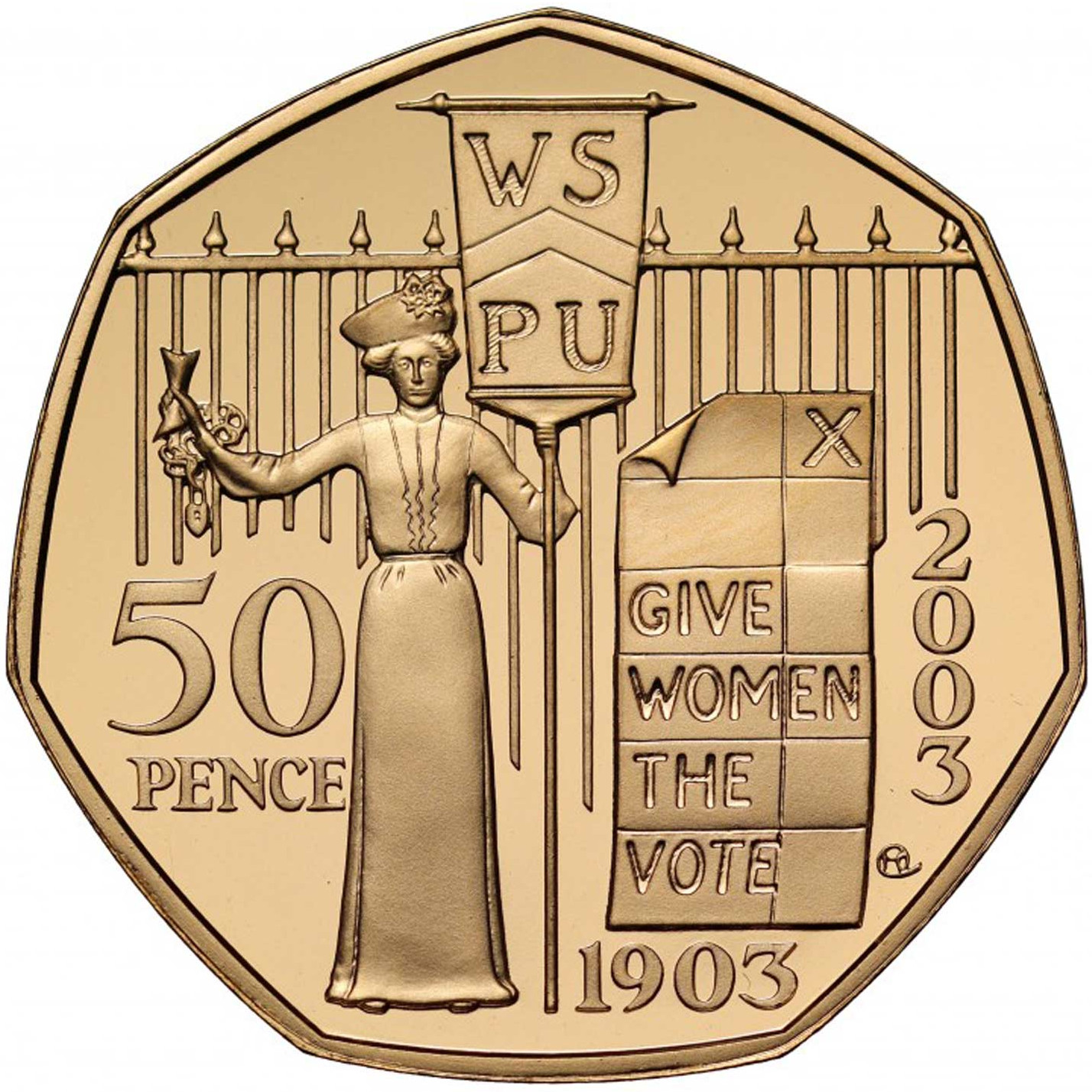 Fifty Pence 2003 Suffragettes: Photo 2003 Suffragette UK 50 Pence Gold Coin