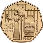 United Kingdom / Fifty Pence 2003 Suffragettes / Gold Proof FDC - reverse photo
