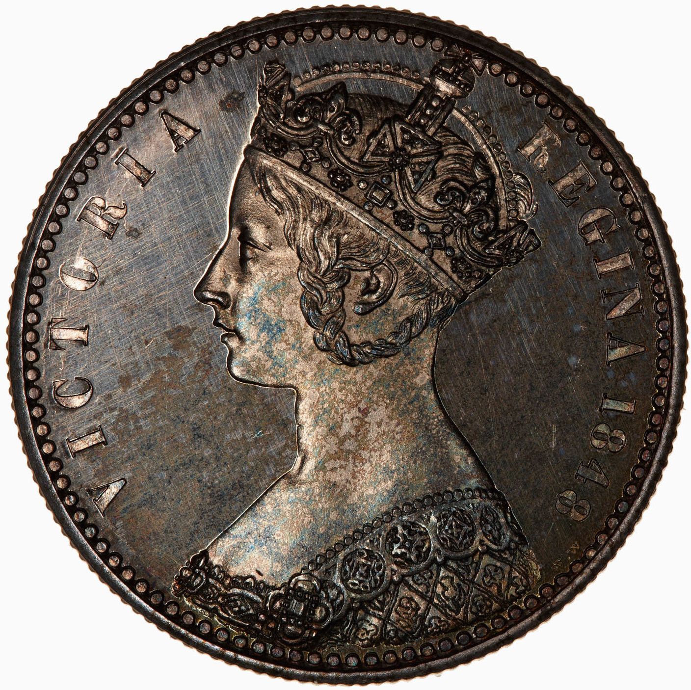 Florin: Photo Pattern Coin - Florin, Queen Victoria, Great Britain, 1848