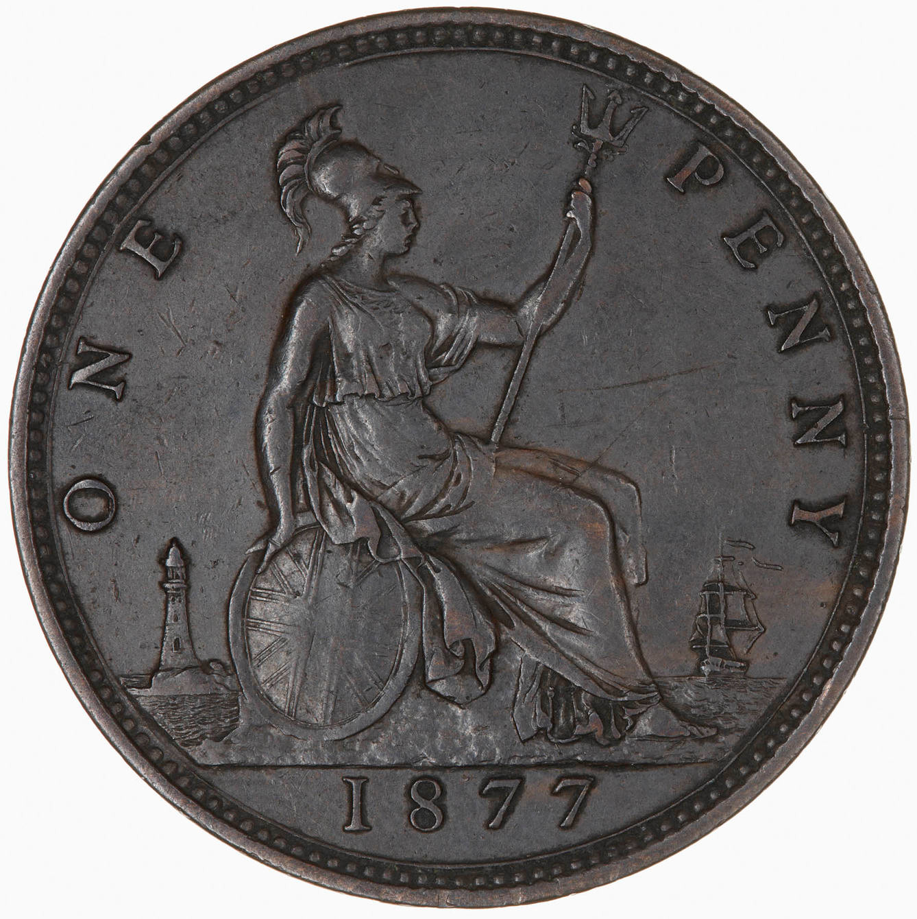 Penny 1877: Photo Coin - Penny, Queen Victoria, Great Britain, 1877