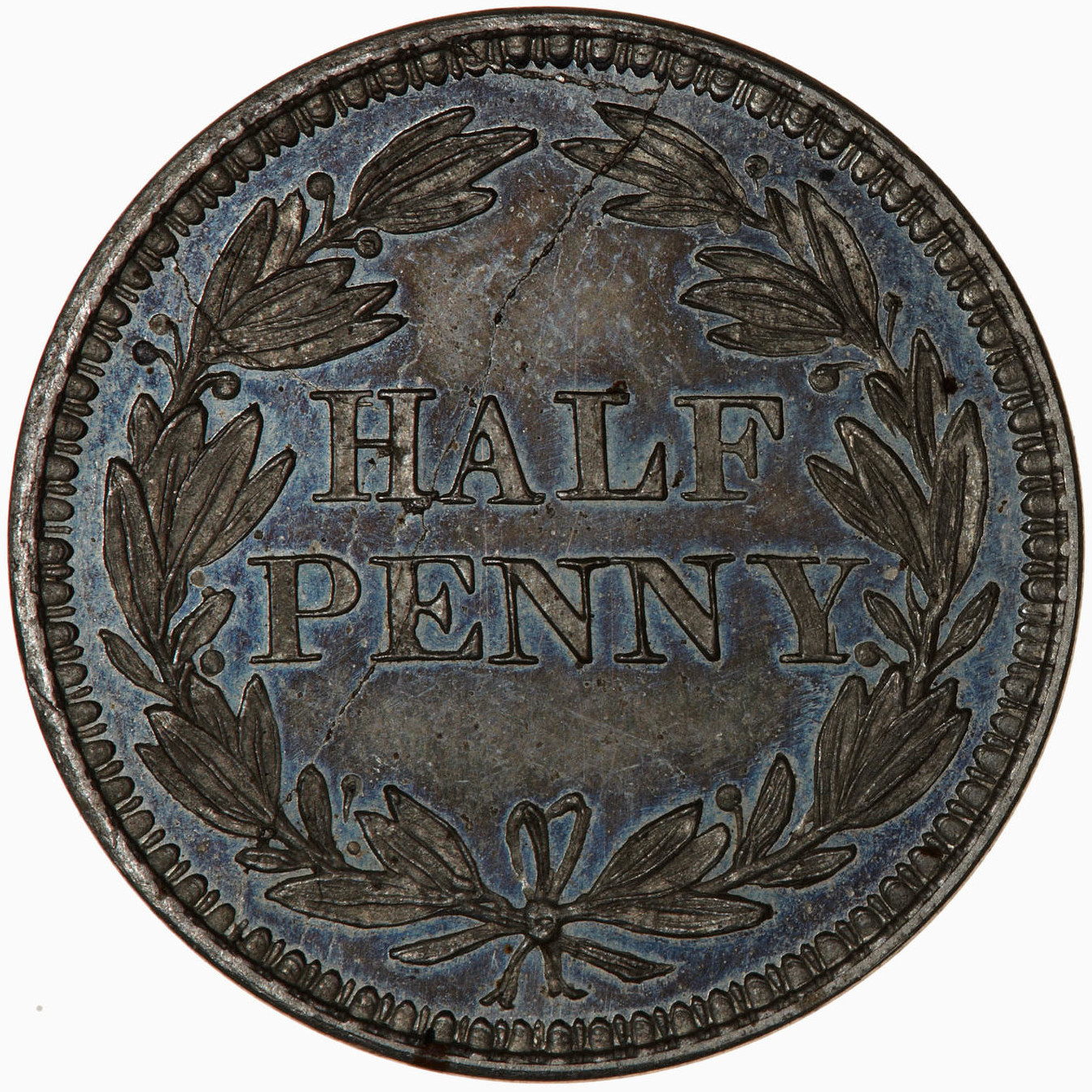 Halfpenny (Pattern): Photo Pattern Coin - Halfpenny, Queen Victoria, Great Britain, circa 1859