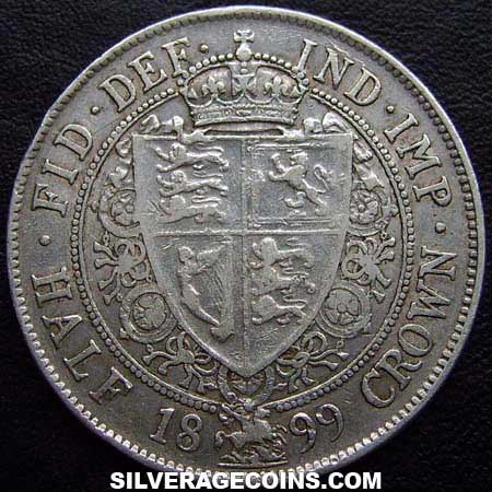 "Halfcrown 1899: Photo 1899 Queen Victoria British Silver ""Widow Head"" Half Crown"
