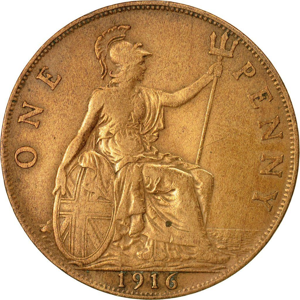 Penny 1916: Photo Coin, Great Britain, George V, Penny, 1916