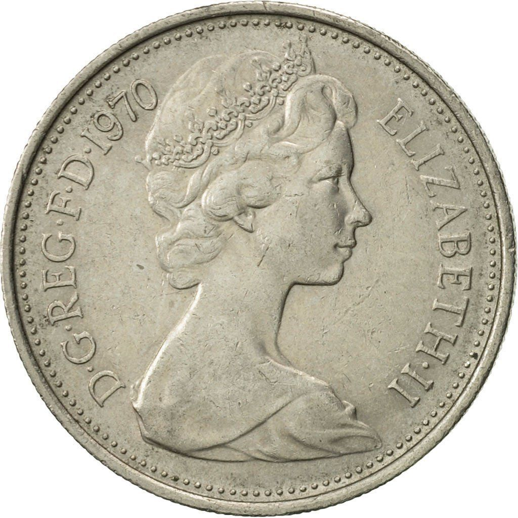 Five Pence 1970: Photo Great Britain, Elizabeth II, 5 New Pence, 1970