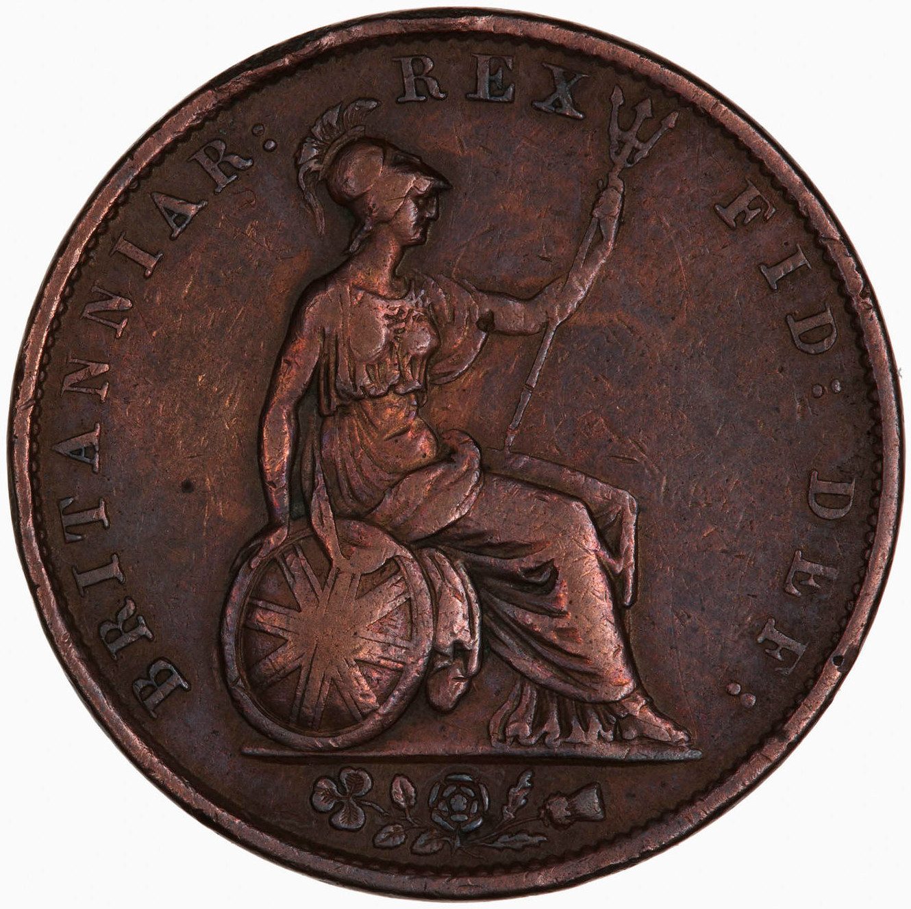 Halfpenny 1834: Photo Coin - Halfpenny, William IV, Great Britain, 1834