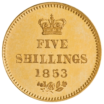 Quarter Sovereign (Pre-decimal): Photo Gold 5 shillings, Great Britain, 1853