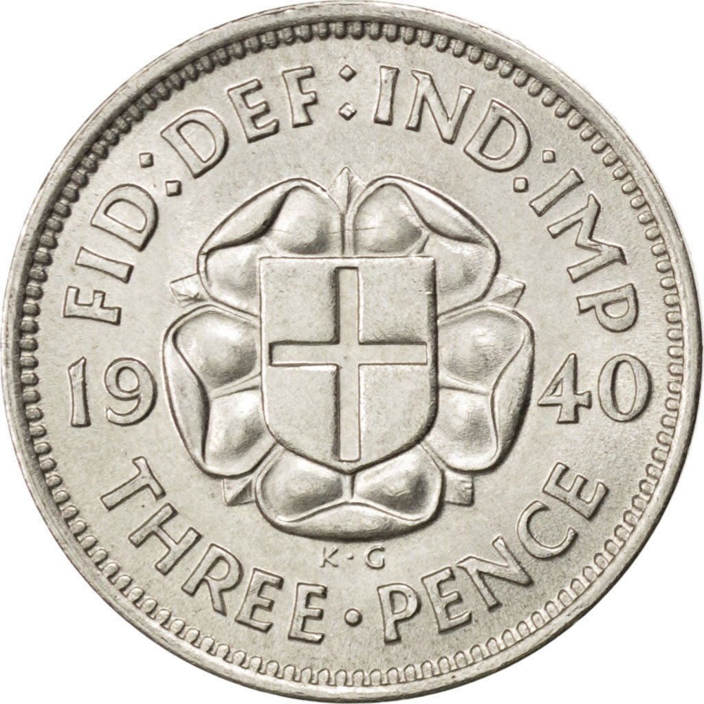 Threepence 1940 (Silver, circulating): Photo Great Britain, George VI, 3 Pence, 1940