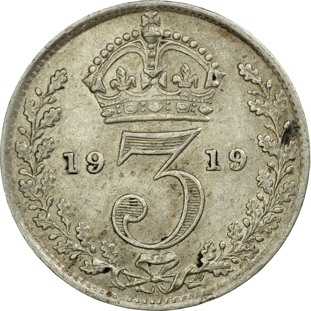 Threepence 1919 (Circulating): Photo Coin, Great Britain, 3 Pence, 1919