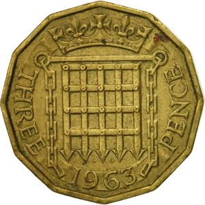 United Kingdom / Threepence 1963 (Brass) - reverse photo
