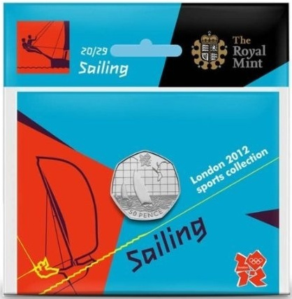 Fifty Pence 2011 - London 2012 - Sailing: Photo Royal Mint London 2012 50p­ Sports Collection - Sailing