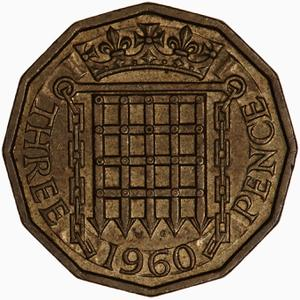 United Kingdom / Threepence 1960 (Brass) - reverse photo