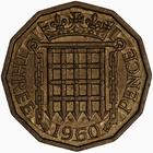 Threepence 1960 (Brass): Photo Coin - Threepence, Elizabeth II, Great Britain, 1960