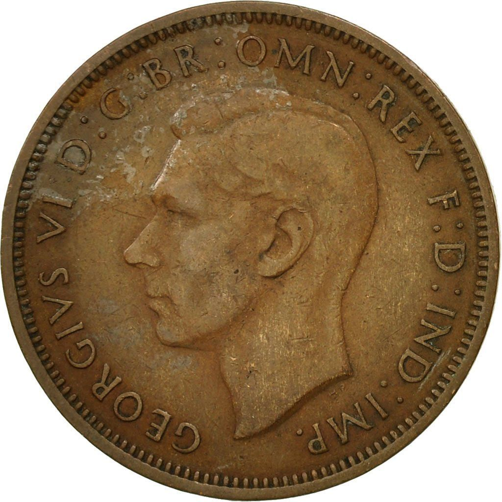 Halfpenny 1948: Photo Coin, Great Britain, George VI, 1/2 Penny, 1948