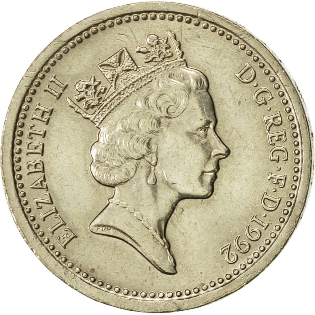 One Pound 1992 Oak Tree and Diadem: Photo Coin, Great Britain, Pound, 1992