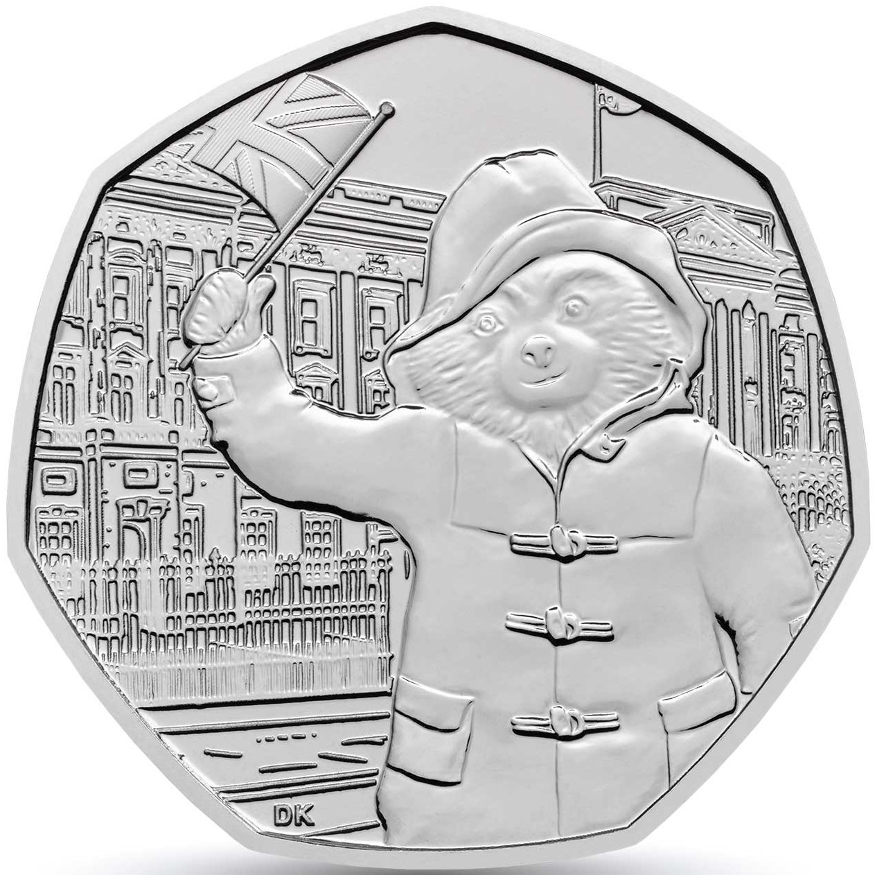 Fifty Pence 2018 Paddington Bear at Buckingham Palace: Photo Paddington at Buckingham Palace 2018 UK 50p Brilliant Uncirculated Coin