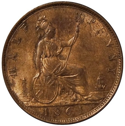 Halfpenny 1861, Coin from United Kingdom - Online Coin Club