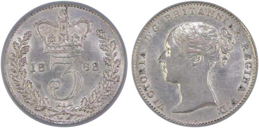 Threepence 1868 (Circulating): Photo 1868 Threepence