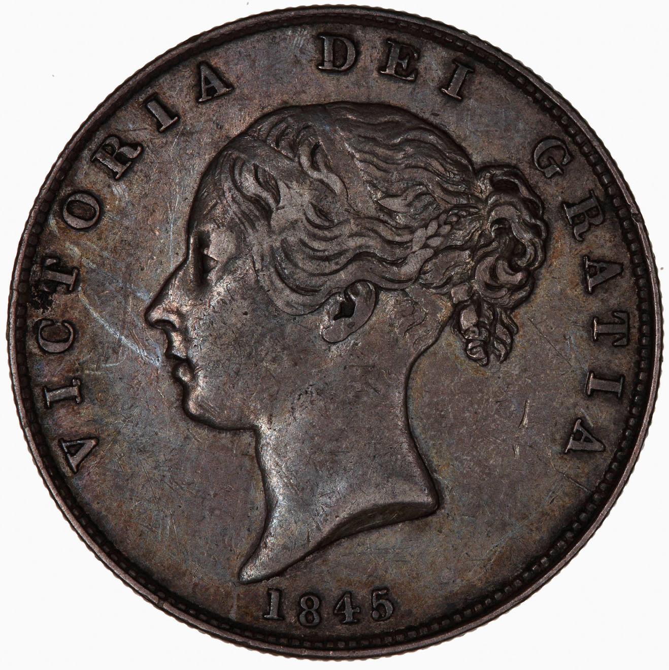 Halfcrown 1845: Photo Coin - Halfcrown, Queen Victoria, Great Britain, 1845