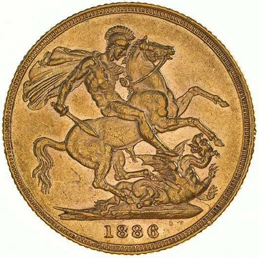 Sovereign 1886 St George: Photo Coin - Sovereign, New South Wales, Australia, 1886