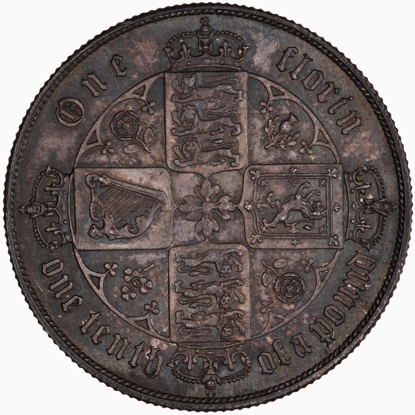 Florin 1868: Photo Coin - Florin, Queen Victoria, Great Britain, 1868